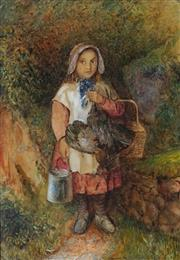 Sale 8975 - Lot 596 - Artist Unknown (C19th) - Portrait of a Country Girl 51 x 36 cm (frame: 64 x 48 x 4 cm)
