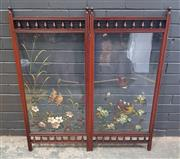 Sale 9014 - Lot 1024 - Victorian Walnut Firescreen, the two clear glass panels with spindle galleries and painted with birds & flowers