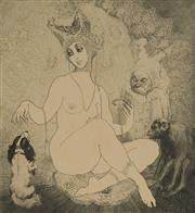 Sale 9078A - Lot 5026 - Norman Lindsay (1879 - 1969) - Jealousy 13.5 x 13 cm (sheet: 27 x 24.5 cm)