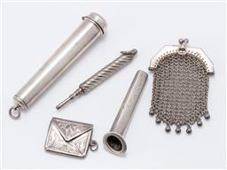 Sale 9180E - Lot 134 - A quantity of sterling silver chatelaine charms and a posy holder, charms including pin case, mesh coin purse, envelope case and ret...