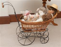 Sale 9260M - Lot 67 - A childs pram L 86cm with dolls and a teddy bear by Sew Treasured