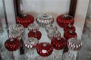Sale 8139 - Lot 27 - Fine Glass Large Melon Shaped Christmas Decoration Setting