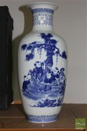 Sale 8226 - Lot 85 - Blue & White Vase with Children