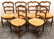 Sale 8287A - Lot 46 - A set of 6 original French Provincial Oak rush seated ladder back dining chairs, circa 1910, 94cm high x 49cm wide x 47cm deep