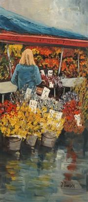 Sale 8732A - Lot 5014 - John Vander (1947 - ) - Flower Stall 50 x 22cm