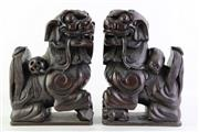 Sale 8852 - Lot 18 - A Pair of Carved Timber Dogs of Fo (H 32cm L 22cm W 12cm)
