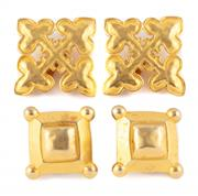 Sale 8879 - Lot 344 - TWO PAIRS OF KARL LAGERFELD CLIP EARRINGS; decorative square forms in gilt metal.