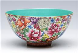 Sale 9098 - Lot 240 - Floral decorated Chinese bowl with teal interior (Dia14cm)