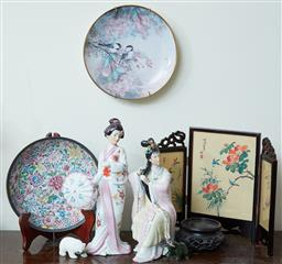 Sale 9103M - Lot 597 - A collection of Oriental items including a silk screen, a floral plate, a wall plate featuring birds, two figures and a polar bear g...