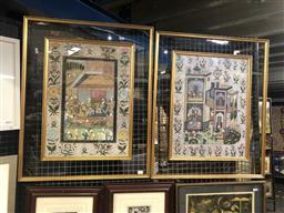 Sale 9130 - Lot 2009 - 2 West Asian Paintings of The House Hold & The Gathering