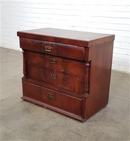 Sale 9151 - Lot 1399 - Flame mahogany chest of 4 drawers (h:74 x w:85 x d:45cm)