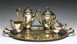 Sale 9175 - Lot 2 - Italian Empire Style Silver (0.800) And Ivory Handled Tea And Coffee Service Of Three Teapots , Sugar, Creamer And Tray (Wt 4.56kg)