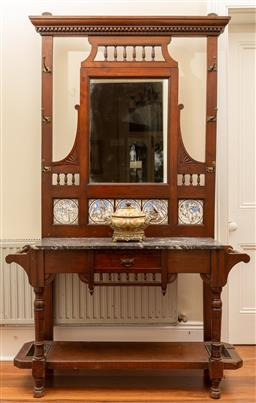 Sale 9190W - Lot 63 - A Victorian walnut hallstand circa 1880 with five Minton tiles by Mory Smith and original brass hooks. Height 203cm x width 121 x de...