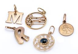 Sale 9194 - Lot 303 - FIVE ASSORTED GOLD PENDANTS; R set with a round brilliant cut diamond, 19 x 8mm, M, 9 x 10mm, and a St Christoper medal, 10mm wi...