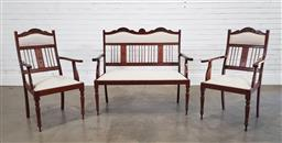 Sale 9215 - Lot 1060 - Australian Federation Probably Blackwood Three-Piece Parlour Suite, comprising a two-seater settee & pair of armchairs, the slatted...