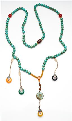 Sale 9253 - Lot 394 - Chinese turquoise coloured bead court necklace (L:100cm)