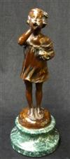 Sale 7746 - Lot 81 - Early C20th Cold Painted Bronze Figure of a Young Girl Blowing Bubbles, Signed ?Rizaro?