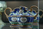 Sale 7874 - Lot 21 - German Majolica Pair of Jugs Decorated with Putti (5)