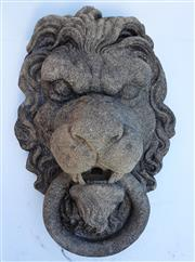 Sale 8256A - Lot 67 - A cast stone wall fountain head of a lion. Size: 43 x 28 cm