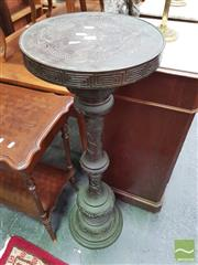 Sale 8416 - Lot 1035 - Meiji Bronze Pedestal, the turned column with engraved decoration & applied reliefs of tortoises & other animals