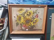 Sale 8595 - Lot 2065 - Artist Unknown - Sunflowers, oil on board, signed lower right -