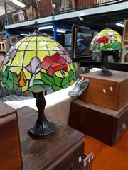 Sale 8688 - Lot 1070 - Pair of Small Leadlight Shade Table Lamps