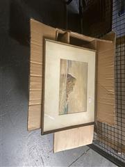 Sale 8898 - Lot 2021 - Herbert Clarke Simpson Beachscape 1934 watercolour,  37 x 47cm (frame), signed, with a Group of Assorted Paintings, Prints, Waterc...