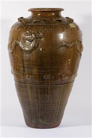 Sale 9003C - Lot 623 - A Large Chinese Earthenware Vase with Glazed Dragon and Lubs to Shoulder (H: 75cm)