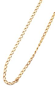 Sale 9054 - Lot 349 - A 9CT GOLD CHAIN; filed long curb links to a bolt ring clasp (missing spring), length 54cm, wt. 10.85g.