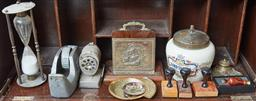 Sale 9103M - Lot 598 - A collection of desk wares including a letter stand, brass inkwell, stamps, tape dispenser and a ceramic tobacco jar etc.