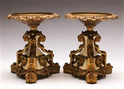 Sale 9122 - Lot 108 - Pair of Gilt Bronze and Marble Tazzas H:21cm