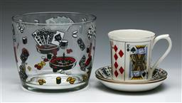 Sale 9144 - Lot 145 - A novelty games printed ice bucket (H 12cm Dia 14.5cm) together with a card themed ceramic duo