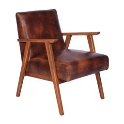 Sale 9180F - Lot 23 - A pair of Mid Century design premium top grain distressed brown leather armchairs with walnut coloured hard wood frame (W 70cm D 83c...