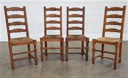 Sale 9210 - Lot 1009 - Set of 4 French style ladderback dining chairs with rush drop in seats (h:100 w:44 d:50cm)