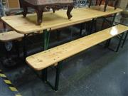 Sale 7969A - Lot 1011 - Timber 3 Piece Outdoor Suite inc Table and 2 Benches