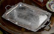 Sale 8015A - Lot 36 - A quality two handled Silver plate serving tray by Sheffield L: 74cm