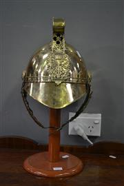 Sale 8093 - Lot 1057 - Brass Helmet on Stand