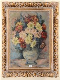 Sale 8171A - Lot 25 - Madge Freeman (1895-1977) - A Vase of Mixed Daisies 46x34 cm