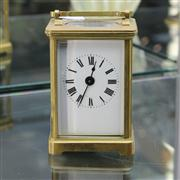 Sale 8379 - Lot 9 - Vintage French Brass Carriage Clock