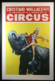 Sale 8445A - Lot 16 - Christiani-Wallace Bros. - Worlds Largest Circus Poster Serigraph 100cm x 66cm