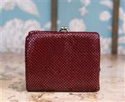 Sale 8474A - Lot 51 - A great vintage burgundy mesh purse with separate sections for notes & coins, in excellent condition, size: 11cm wide x 10cm high