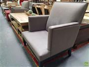 Sale 8637 - Lot 1015 - Pair of Upholstered Armchairs with Studded Trim (no cushion seat)