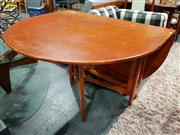 Sale 8782 - Lot 1016 - McIntosh Teak Drop Leaf Dining Table with Rounded Ends