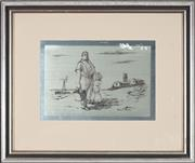 Sale 8753 - Lot 2016 - Sir Russell Drysdale (1912 - 1981) - Countryman and Daughter 14 x 19.5cm