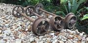 Sale 8772A - Lot 100 - A Mixed Set Of 3 Cast Iron Rail Trolley Wheel Axles General Wear, One Axle Bent 79cml / 88cm L