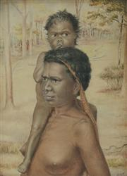 Sale 8916 - Lot 570 - H Stuart Wilson - Aboriginal Mother and Child with Eucalyptus Trees, 1910 46 x 34 cm