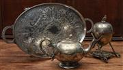 Sale 8942H - Lot 13 - A twin handled silver plate engraved tray together with a teapot and egg coddler with eagle finial