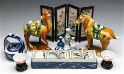 Sale 9144 - Lot 290 - Collection of Chinese Ceramics inc tang style horse L:15cm and camel, miniature cups and others