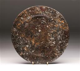 Sale 9164 - Lot 135 - A large fossil and stone charger (Dia 36cm)
