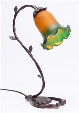 Sale 9185E - Lot 66 - A lily brach table lamp with orange and green glass shade, Height 44cm, in working order
